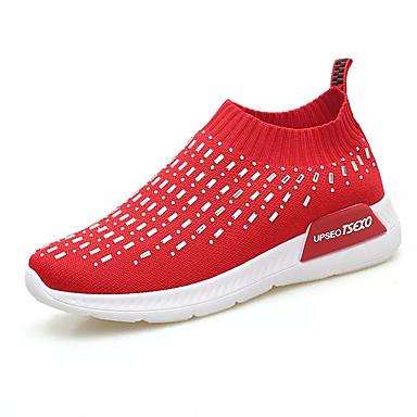 Mulheres Sapatos Couro Ecológico Verão Conforto Tênis Caminhada Sem Salto Ponta Redonda Branco / Preto / Vermelho