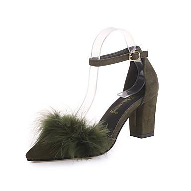 Damen Schuhe PU Sommer Komfort Sandalen Walking Flacher Absatz Offene Spitze für Normal Schwarz Armeegrün Rosa