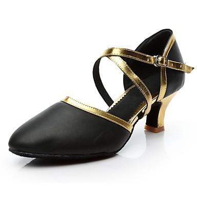 בגדי ריקוד נשים נעליים מודרניות דמוי עור עקבים עקב מותאם מותאם אישית נעלי ריקוד שחור וזהב / שחור וכסף / בבית