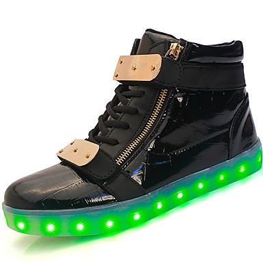 נעליים דמוי עור חומרים בהתאמה אישית עור פטנט חורף אביב נעליים זוהרות נוחות נעלי ספורט אבזם ל קזו'אל בָּחוּץ לבן שחור