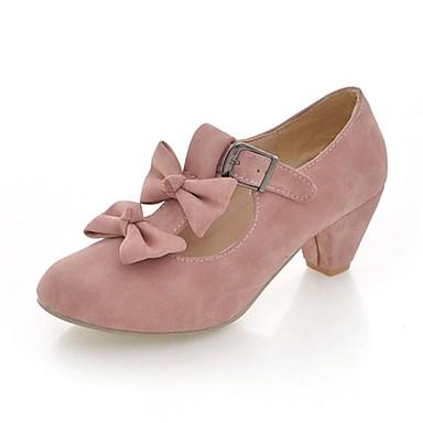 billige Dusty Rose-Dame Høye hæler Tykk hæl Rund Tå Sløyfe Kunstlær Mary Jane Vår Rød / Blå / Dusty Rose / Formell