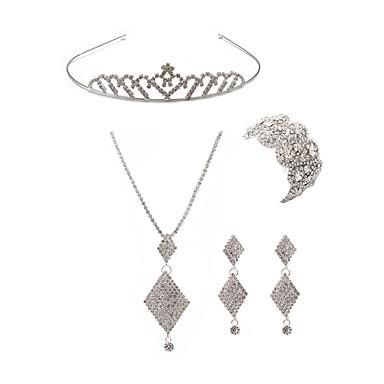 בגדי ריקוד נשים סט תכשיטים - יהלום מדומה שועל ארופאי, אופנתי לִכלוֹל נזרים סטי תכשיטי כלה לבן עבור חתונה Party