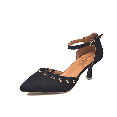 בגדי ריקוד נשים נעליים סוויד אביב נוחות עקבים עקב סטילטו בוהן עגולה שחור / חאקי