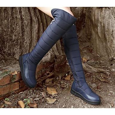 Femme Automne Bottes Bleu Noir Bottes Hiver Chaussures neige Cuissarde Polyuréthane Confort 06532257 Talon de Plat 8rEwpq8n