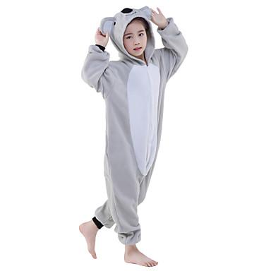 Niños Pijamas Kigurumi Koala Pijamas de una pieza Disfraz Lana Polar Gris Cosplay por Ropa de Noche de los Animales Dibujos animados Víspera de Todos los Santos Festival / Celebración / Navidad