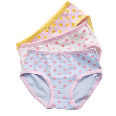 levne Dívčí prádlo a ponožky-3 kusy Děti Dívčí Jednoduchý Puntíky Proužky Komiks Bavlna Spodní prádlo a ponožky Vodní modrá