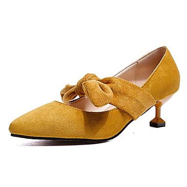 בגדי ריקוד נשים נעליים PU אביב / קיץ נוחות עקבים עקב קצר פפיון שחור / בז' / צהוב