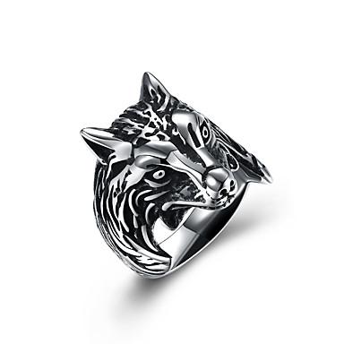 voordelige Heren Ring-Heren Statement Ring Roestvast staal Wolf Vintage Europees Oversized Modieuze ringen Sieraden Zilver Voor Halloween Club 8 / 9 / 10 / 11 / 12