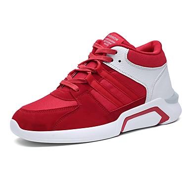 נעליים PU אביב סתיו נוחות נעלי ספורט ל קזו'אל בָּחוּץ שחור אפור אדום שחור לבן