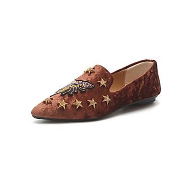 בגדי ריקוד נשים נעליים עור נובוק אביב / סתיו נוחות נעליים ללא שרוכים שטוח שחור / חום / חאקי