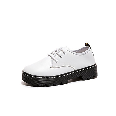 Women's Shoes PU Summer Comfort Light Soles Heels Flat Heel Round Toe Lace-up for Dress White Black