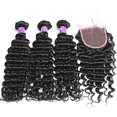 baratos Extensões de Cabelo Natural-3 pacotes com fechamento Cabelo Malaio Onda Profunda 10A Cabelo Virgem Trama do cabelo com Encerramento Tramas de cabelo humano Extensões de cabelo humano