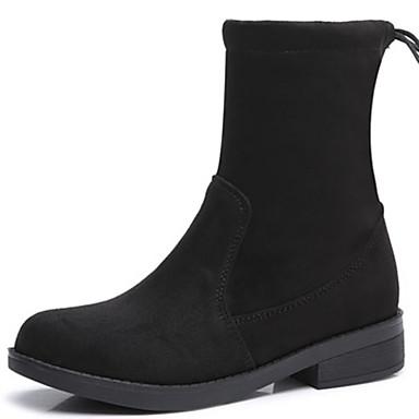 בגדי ריקוד נשים נעליים פרווה סתיו / חורף מגפיים אופנתיים / מגפיי קרב מגפיים עקב עבה מגפיים באורך אמצע - חצי שוק שחור / מסיבה וערב
