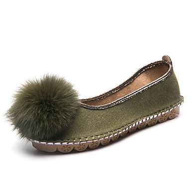 בגדי ריקוד נשים נעליים PU אביב / סתיו נוחות שטוחות שטוח שחור / ירוק / שקד