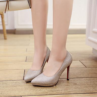 Eté Escarpin Chaussures Confort Chaussures Printemps 06501112 Aiguille Talons à Polyuréthane Bout pointu Basique Femme Talon Or Paillettes nFx88I