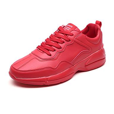 בגדי ריקוד גברים PU אביב / סתיו נוחות נעלי אתלטיקה ריצה לבן / שחור / אדום