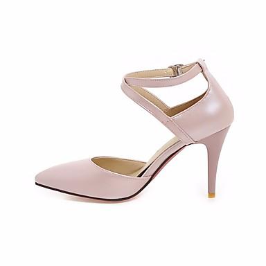 בגדי ריקוד נשים נעליים מיקרופייבר PU סינתטי אביב / סתיו נוחות עקבים עקב סטילטו לבן / שחור / ורוד