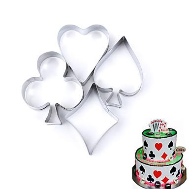 4pcs poker form cookie mold kort metall kake molds kjøkken dekorere verktøy