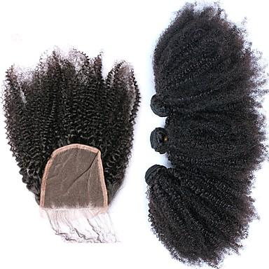 baratos Extensões de Cabelo Natural-3 pacotes com fechamento Cabelo Brasileiro Afro Kinky 10A Cabelo Virgem Trama do cabelo com Encerramento Tramas de cabelo humano Extensões de cabelo humano