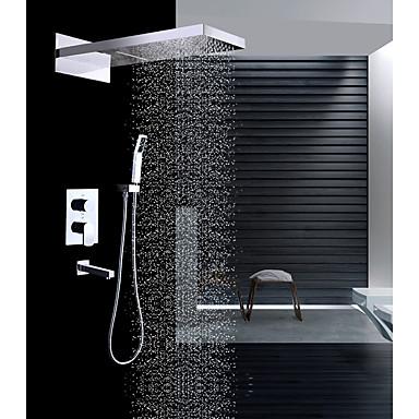 ברז למקלחת - עכשווי כרום מותקן על הקיר שסתום קרמי / Brass / שתי ידיות ארבעה חורים