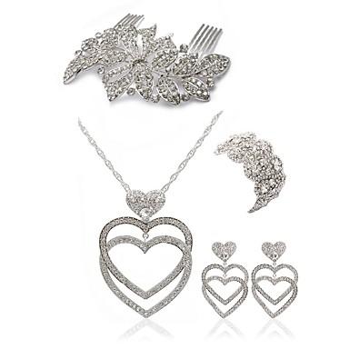 בגדי ריקוד נשים סט תכשיטים - יהלום מדומה לב ארופאי, אופנתי לִכלוֹל מסרקי שיער סטי תכשיטי כלה לבן עבור חתונה Party
