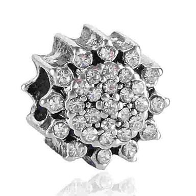 תכשיטים DIY 1 יח חרוזים יהלום מדומה סגסוגת לבן כחול פרח חָרוּז 0.2 cm עשה זאת בעצמך שרשראות צמידים