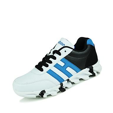 נעליים PU אביב סתיו נוחות נעלי ספורט ל קזו'אל בָּחוּץ לבן שחור לבן וכחול