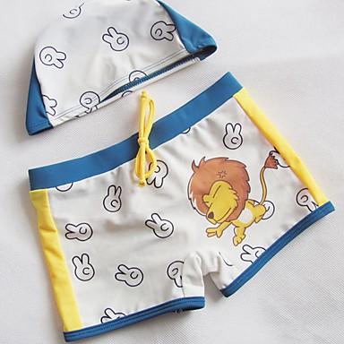 baratos Roupa de Banho para Meninos-Bébé Para Meninos Estampado Roupa de Banho Branco
