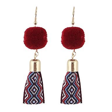 בגדי ריקוד נשים עגילי טיפה - פשוט, בסיסי אפור / חום / אדום עבור יומי / פגישה (דייט)