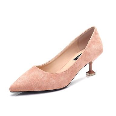 בגדי ריקוד נשים נעליים פליז אביב / סתיו בלרינה בייסיק עקבים עקב קצר בוהן מחודדת שחור / ורוד