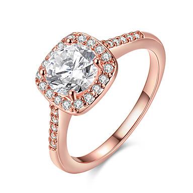 billige Motering-Dame Statement Ring / Forlovelsesring / Belle Ring Diamant / Kubisk Zirkonium 1pc Gull / Sølv / Rose Gull Sølvplett / Gullbelagt damer / Europeisk / Brude Bryllup / Fest / jubileum Kostyme smykker