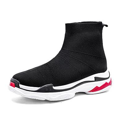 בגדי ריקוד נשים נעליים טול / PU אביב / סתיו נוחות מגפיים שטוח בוהן עגולה מגפונים\מגף קרסול שחור / סִיסמָה
