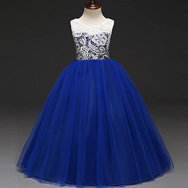 זול שמלות לבנות-שמלה ללא שרוולים תחרה קולור בלוק Party מתוק בנות ילדים / כותנה