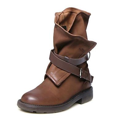 Mujer Zapatos Cuero Nobuck / Cuero de Napa / Cuero Primavera / Otoño Confort Botas Tacón Plano Negro / Marrón yIJUsjaG