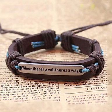 Men's Vintage Bracelet / Leather Bracelet - Leather Retro / Vintage, Inspirational Bracelet Coffee For Gift / Daily / Casual