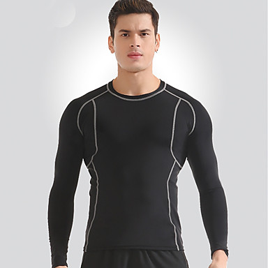 בגדי ריקוד גברים צווארון עגול קצר טישרט לריצה - שחור ספורט טי שירט כושר וספורט, חדר כושר, להתאמן שרוולים קצרים לבוש אקטיבי ייבוש מהיר, נשימה