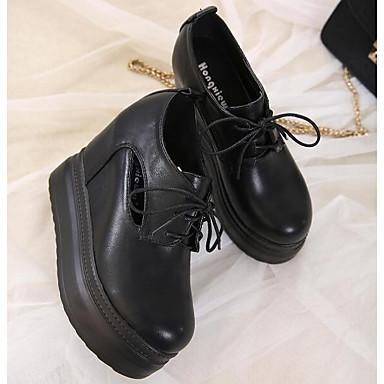 microfibre synthétique Noir pour 06532533 Oxfords Femme Creepers Blanc Chaussures Décontracté Confort Printemps Automne de PU wxBRU