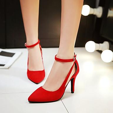 בגדי ריקוד נשים PU קיץ נוחות סנדלים עקב סטילטו בוהן סגורה שחור / אדום