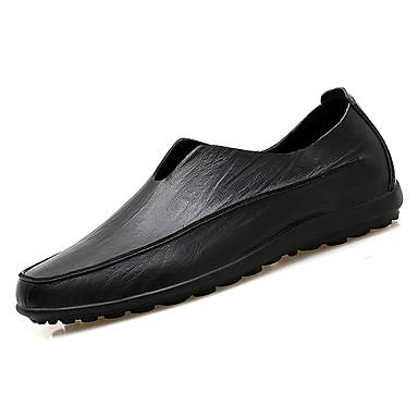 בגדי ריקוד גברים מוקסין עור / עור נאפה Leather אביב / סתיו נוחות נעליים ללא שרוכים לבן / שחור / חום