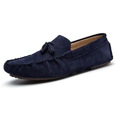בגדי ריקוד גברים נעלי נוחות עור אביב / סתיו נעליים ללא שרוכים שחור / כחול / חאקי