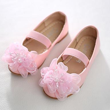 בנות נעליים PU אביב חדשני / נעליים לילדת הפרחים שטוחות חרוזים / אפליקציות / סרט גומי ל לבן / ורוד / מסיבה וערב