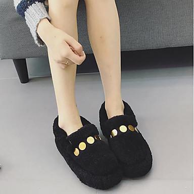 בגדי ריקוד נשים צמר סתיו / חורף נוחות נעליים ללא שרוכים שטוח בוהן עגולה שחור / חאקי