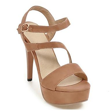 בגדי ריקוד נשים נעליים עור נובוק אביב / קיץ נוחות סנדלים עקב סטילטו אדום / ורוד / שקד