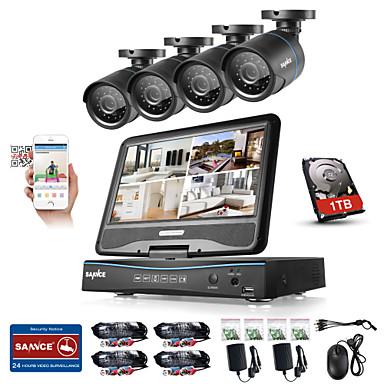 sannce® 8ch 4pcs 720p lcd dvr système de sécurité résistant aux intempéries pris en charge ahd analogique tvi ip caméra 1tb