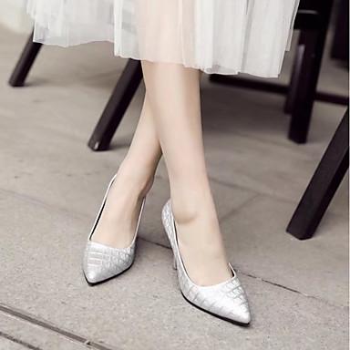 Naranja Zapatos alto Plata Dedo Confort Otoño Tacón Tacones 06474311 Primavera Negro Puntiagudo PU Mujer 7ZBqx4f4