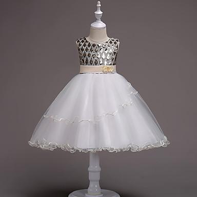 Χαμηλού Κόστους Ρούχα για Κορίτσια-Παιδιά Κοριτσίστικα Καθημερινό Γενέθλια Εξόδου Πολυτέλεια Αμάνικο Βαμβάκι Πολυεστέρας Φόρεμα Χρυσό / Χαριτωμένο