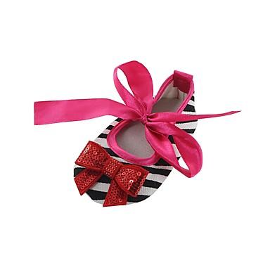 baratos Sapatos de Criança-Para Meninas Tecido Rasos Crianças (0-9m) Conforto / Primeiros Passos / Sapatos de Berço Laço / Apliques / Cadarço de Borracha Vermelho / Verde / Rosa claro Primavera / Outono / Casamento / Listrado