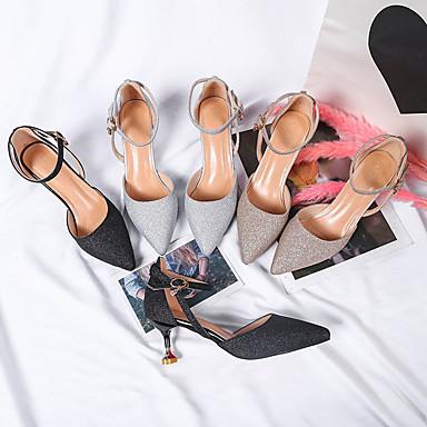 Negro Mujer Tacones Plata Confort Tacón Zapatos Otoño Goma Dorado 06529512 Primavera Bajo zwXx7rqw