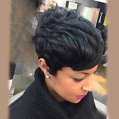 שיער ללא שיער שיער אנושי גלי טבעי פיקסי קאט חלק צד קצר הוכן באמצעות מכונה פאה בגדי ריקוד נשים