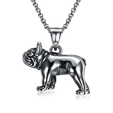 billige e Halskæder-Herre Halskædevedhæng Hunde Europæisk Gotisk Indledende Rustfrit Stål Titanium Stål Wolfram stål Sølv Halskæder Smykker 1 Til Ceremoni Bar